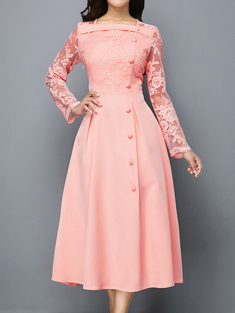 Casual Single-Breasted Lace Solid Color Dress