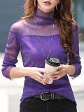 Image of High Collar Plain Long Sleeve T-shirt