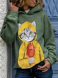 Image of Round Neck Cat Print Long Sleeve Hoodie