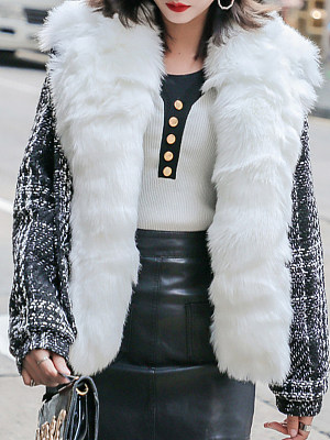 Women's Large Fur Collar Woolen Coat gender:female, colour:other, season:autumn,winter,spring, texture:polyester, pattern_type:splice, sleeve_length:long sleeve, style:japan and south korea, collar_type:fold collar, dress_occasion:street shot,daily, bust:120,clothing length:65,