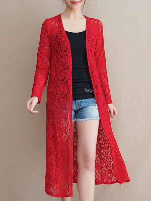 See-Through Floral Plain Long Sleeve Cardigan, 11134590