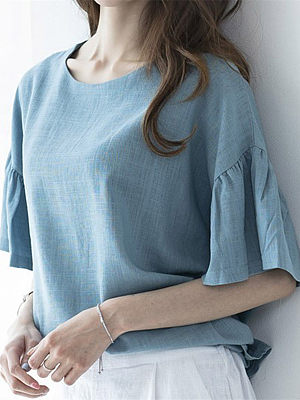 Round neck loose pullover ruffle top
