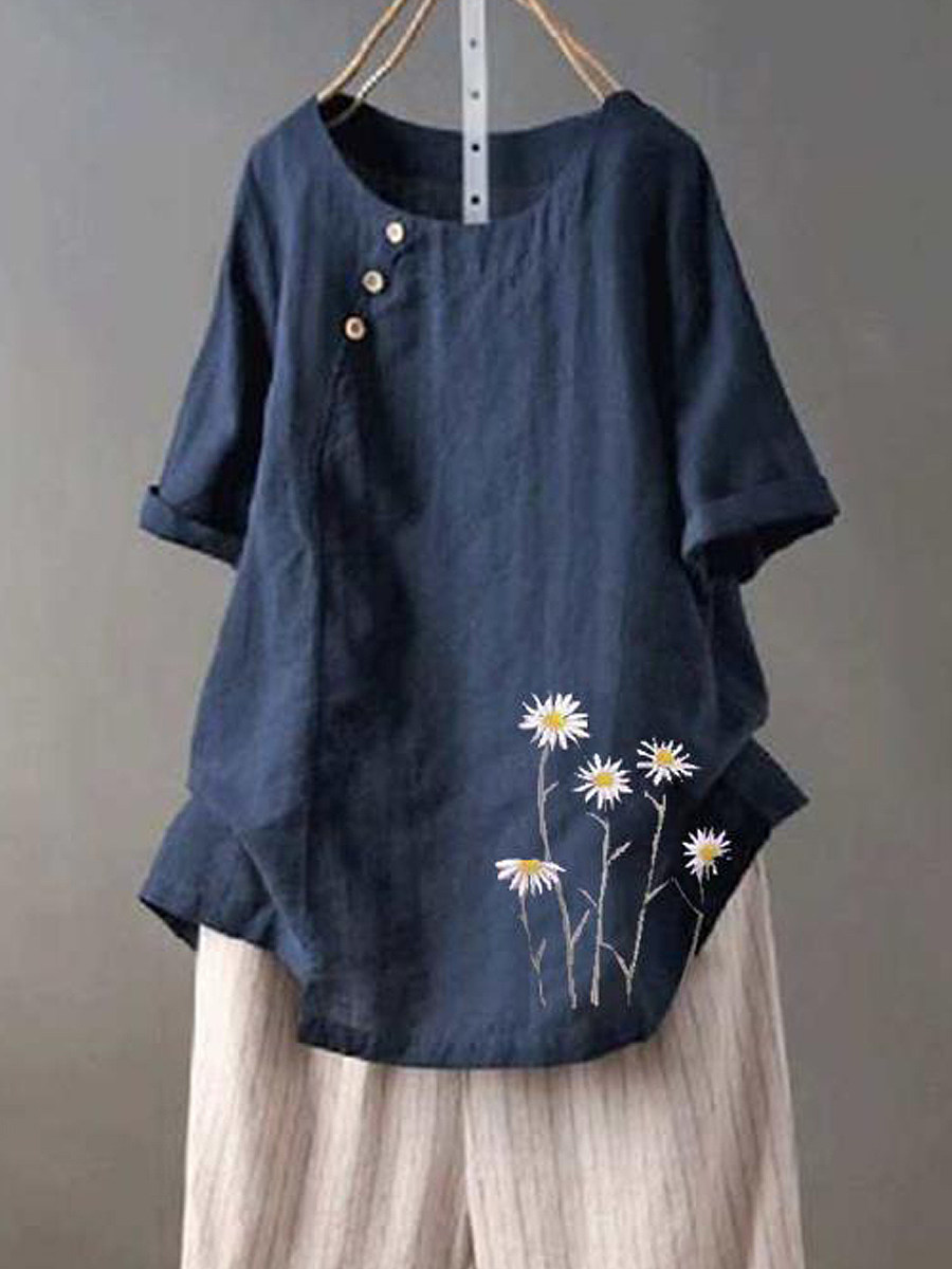 BerryLook Round Neck Print Buttons Short Sleeve Linen Blouse