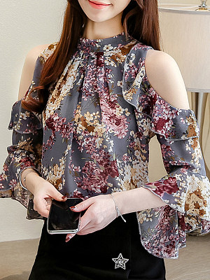 Band Collar Floral Bell Sleeve Blouse, 11334333