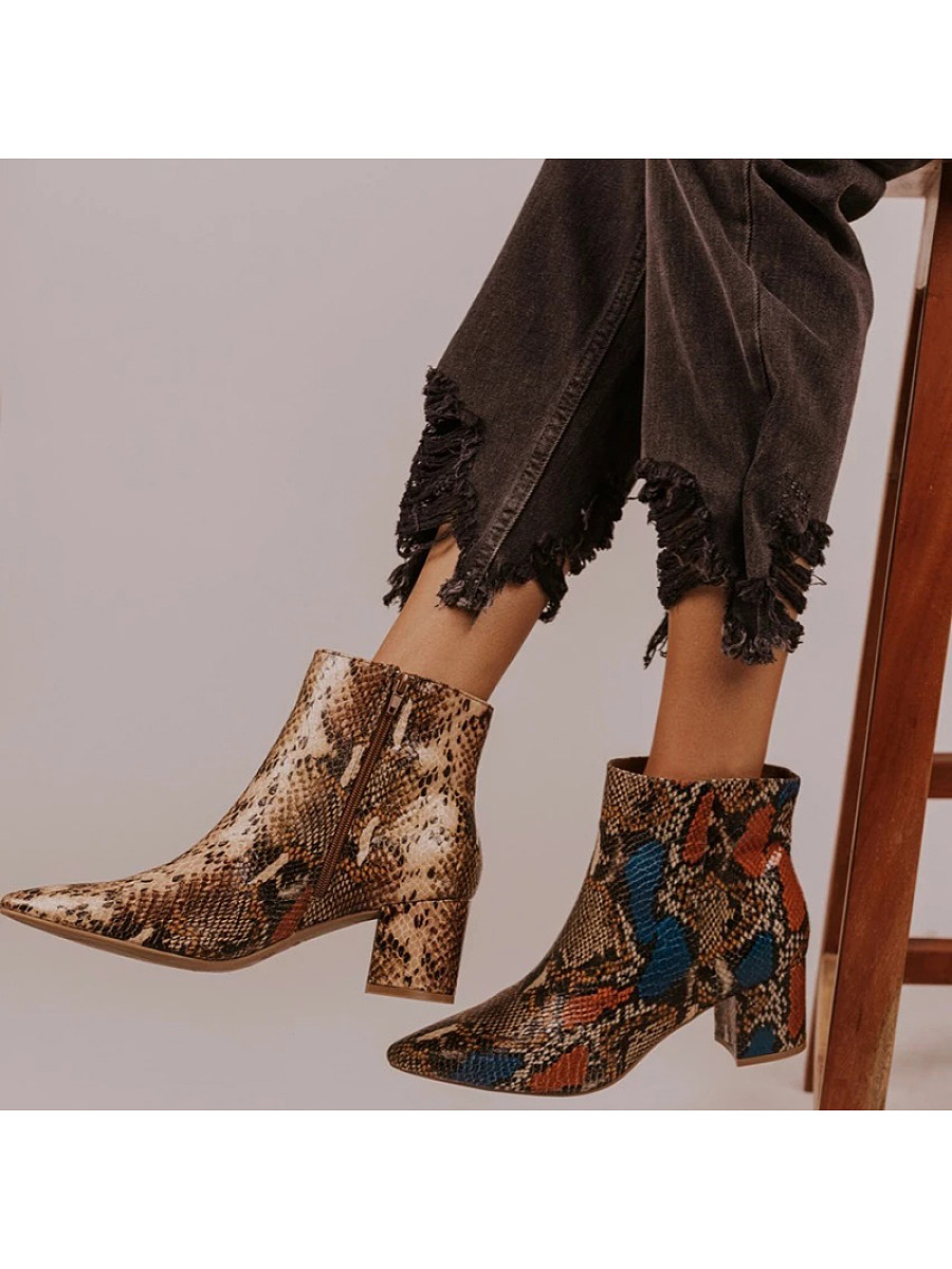 Fashion ladies snakeskin side zipper martin boots - from $32.95