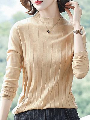 Short High Collar Elegant Plain Long Sleeve Knit Pullover, 10447020
