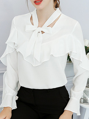 Tie Collar Plain Long Sleeve Blouse, 11170719