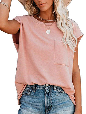 Round Neck Gradient Print Loose Short-sleeved T-shirt