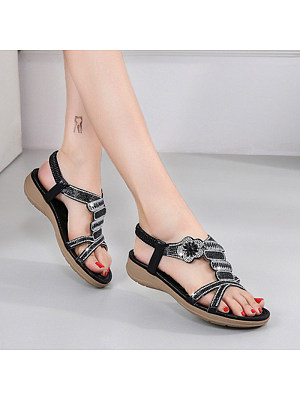 Fashion Women's Flower Rhinestone Flat Sandals, 11056417