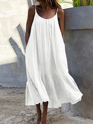 Berrylook Loose Ruffled Solid Color Sleeveless Dress online shopping sites, shoping, graduation dress, floral maxi dress