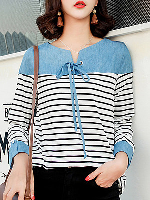 Tie Collar Striped Patchwork Long Sleeve T-shirt