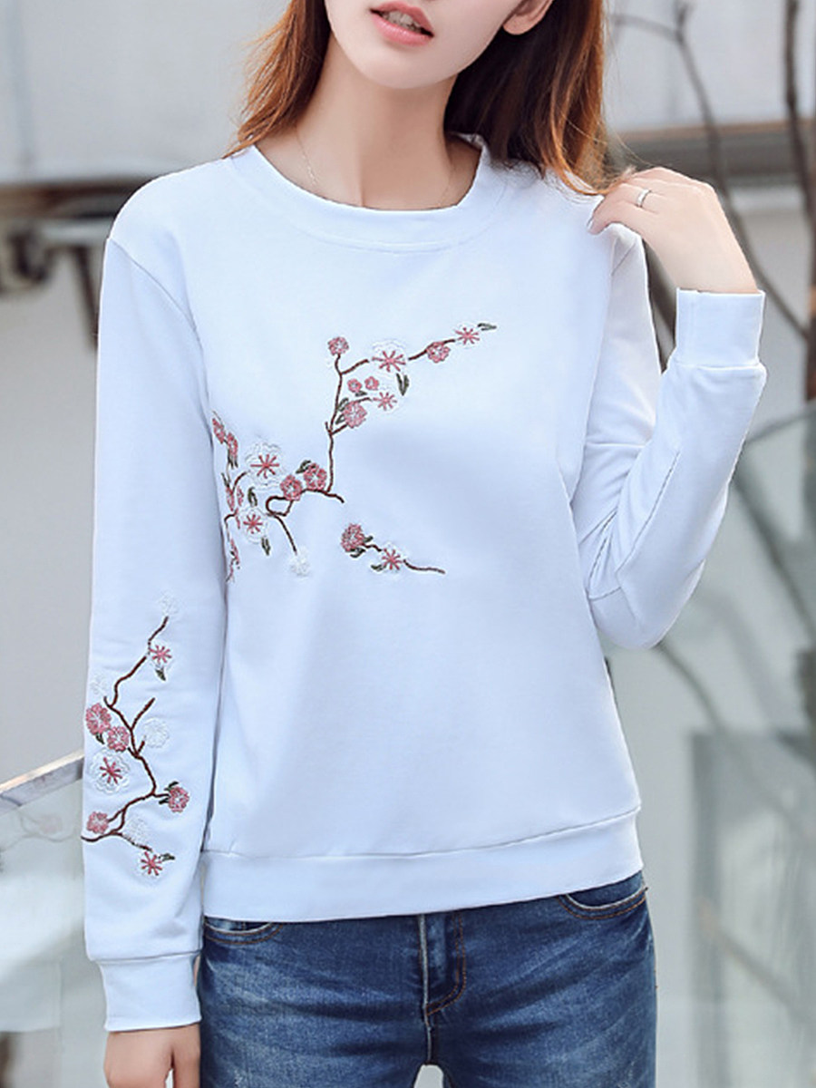 Fashion Embroidered Crew Neck Sweater