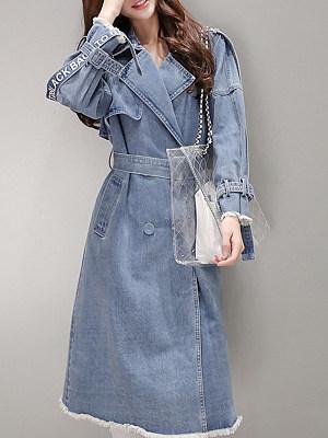 Women's fashion mid-length denim trench coat