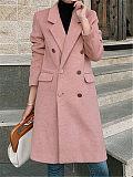 Fashion Women's Solid Color Fold Collar Midi Long Coat