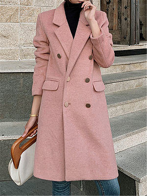 Fashion Women's Solid Color Fold Collar Midi Long Coat gender:female, season:autumn,winter,spring, texture:woolen, sleeve_length:long sleeve, style:japan and south korea, collar_type:fold collar, dress_occasion:daily, bust:114,clothing length:98,shoulder width:43,