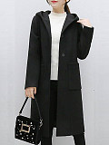 Image of Mid-Length Hooded Knitted Jacket
