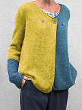 Image of V Neck Color Block Buttons Long Sleeve Knit Pullover