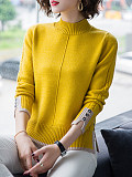 Half High Collar Patchwork Long Sleeve Knit Pullover