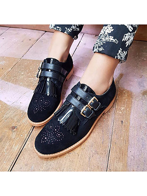 Women Fashion Belt Buckle Tassel Round Toe Flats, 11007767