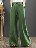 Image of Loose High Waist Solid Color Straight Wide Leg Pants
