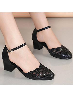 Fashion ladies mesh mid-heel buckle sandals