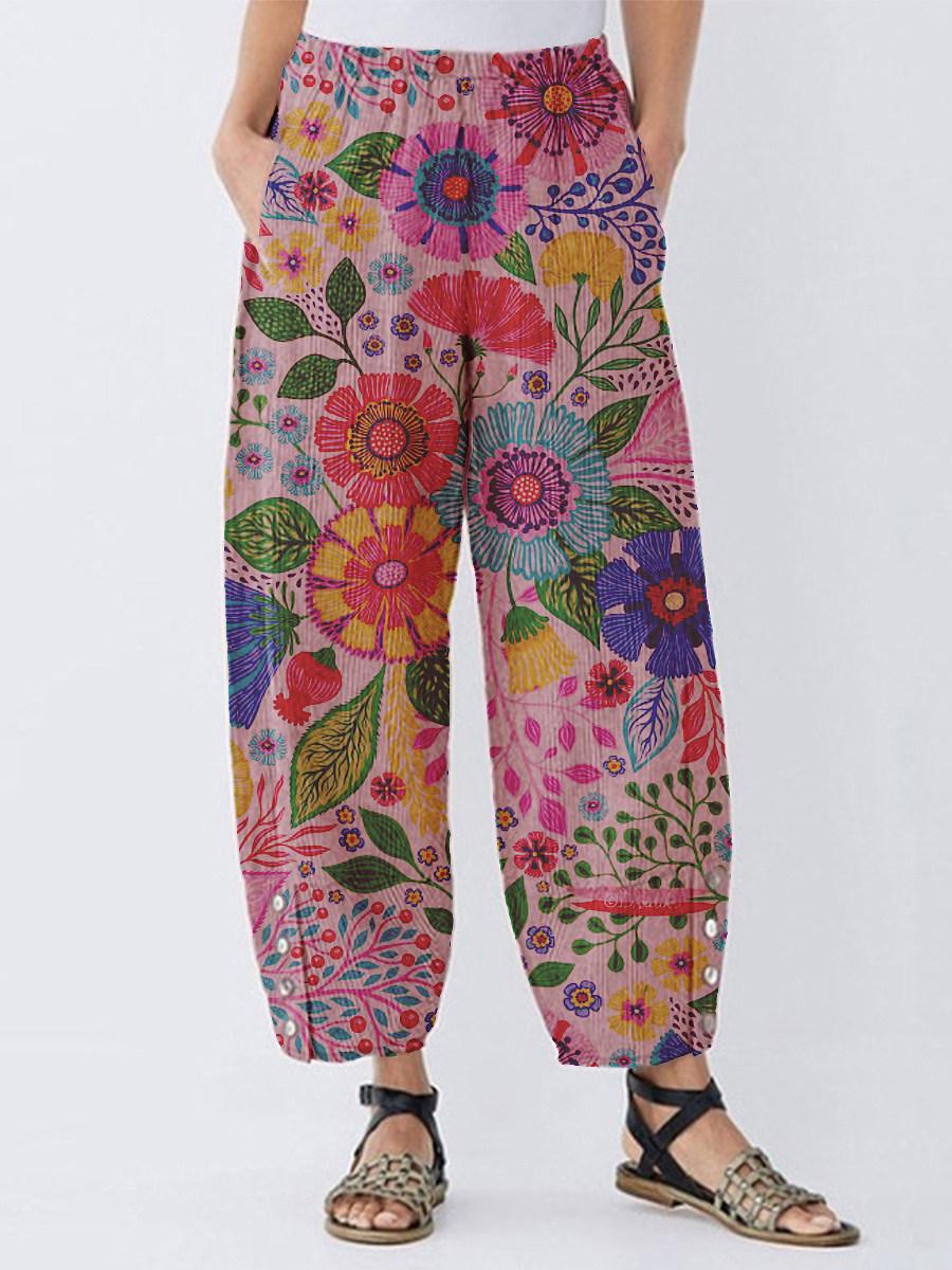Fashion print button split wide-leg pants