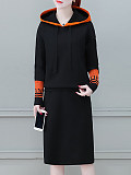 Image of Casual Long-Sleeved Color Matching Two-Piece Dress