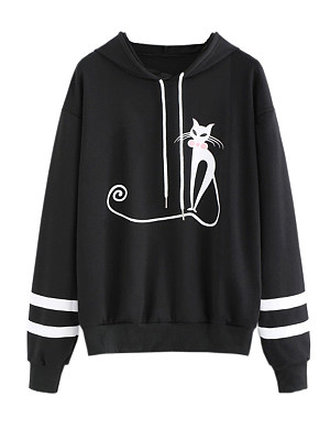 Women's Casual Printed Long Sleeve Hoodie gender:woman, colour:other, season:autumn,winter,spring, texture:cotton blend, pattern_type:printing, sleeve_length:long sleeve, style:japan and south korea, collar_type:hat collar, dress_occasion:daily, bust:118,clothing length:65,