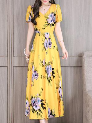 V-Neck Printed Maxi Dress, 11367662