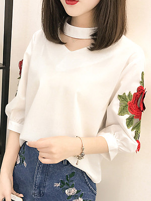 V Neck Embroidery Three-Quarter Sleeve Blouse, 11283361