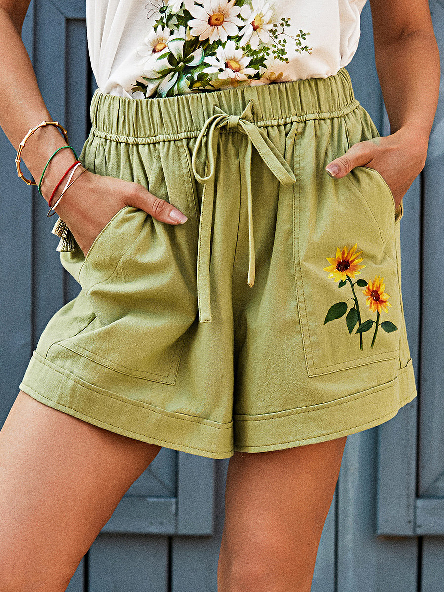 Womens Floral Print Casual Shorts