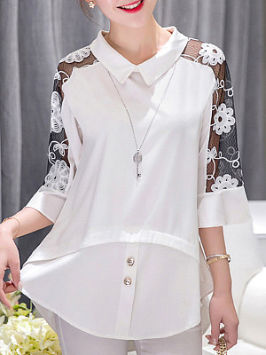 Turn Down Collar Patchwork Lace Three-quarter Sleeve Blouse, 11203280