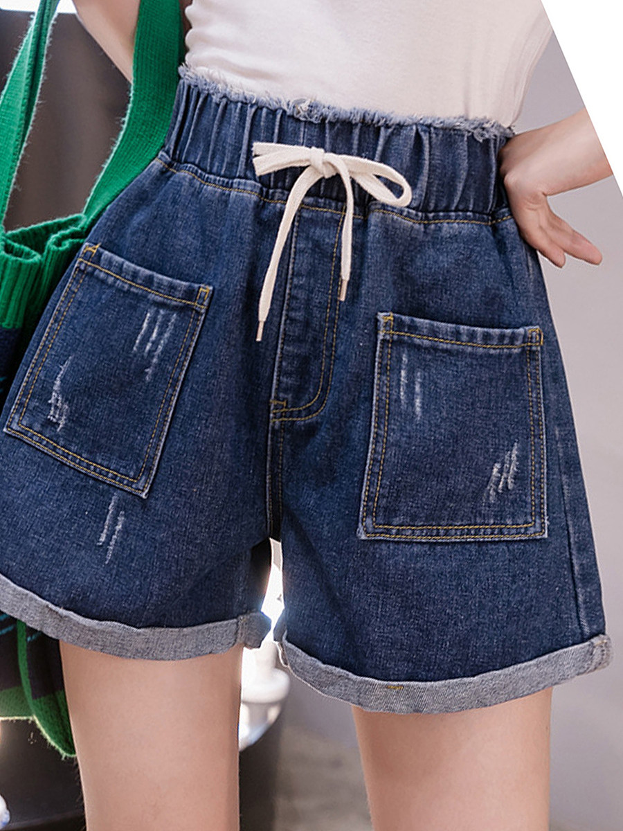 2020 summer new elastic high waist Korean version of loose and wild plus size women's clothing plus fertilizer to increase denim shorts women