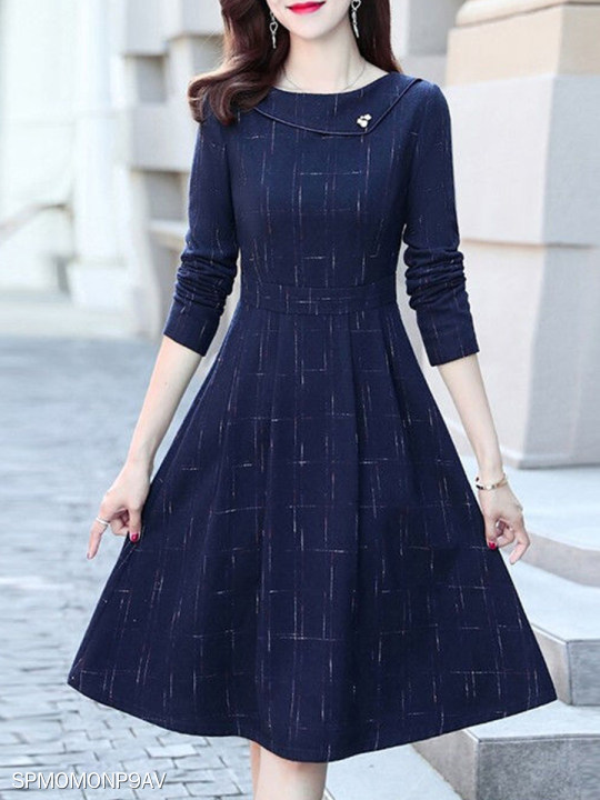 Long Sleeve Round Neck Print Skater Dress