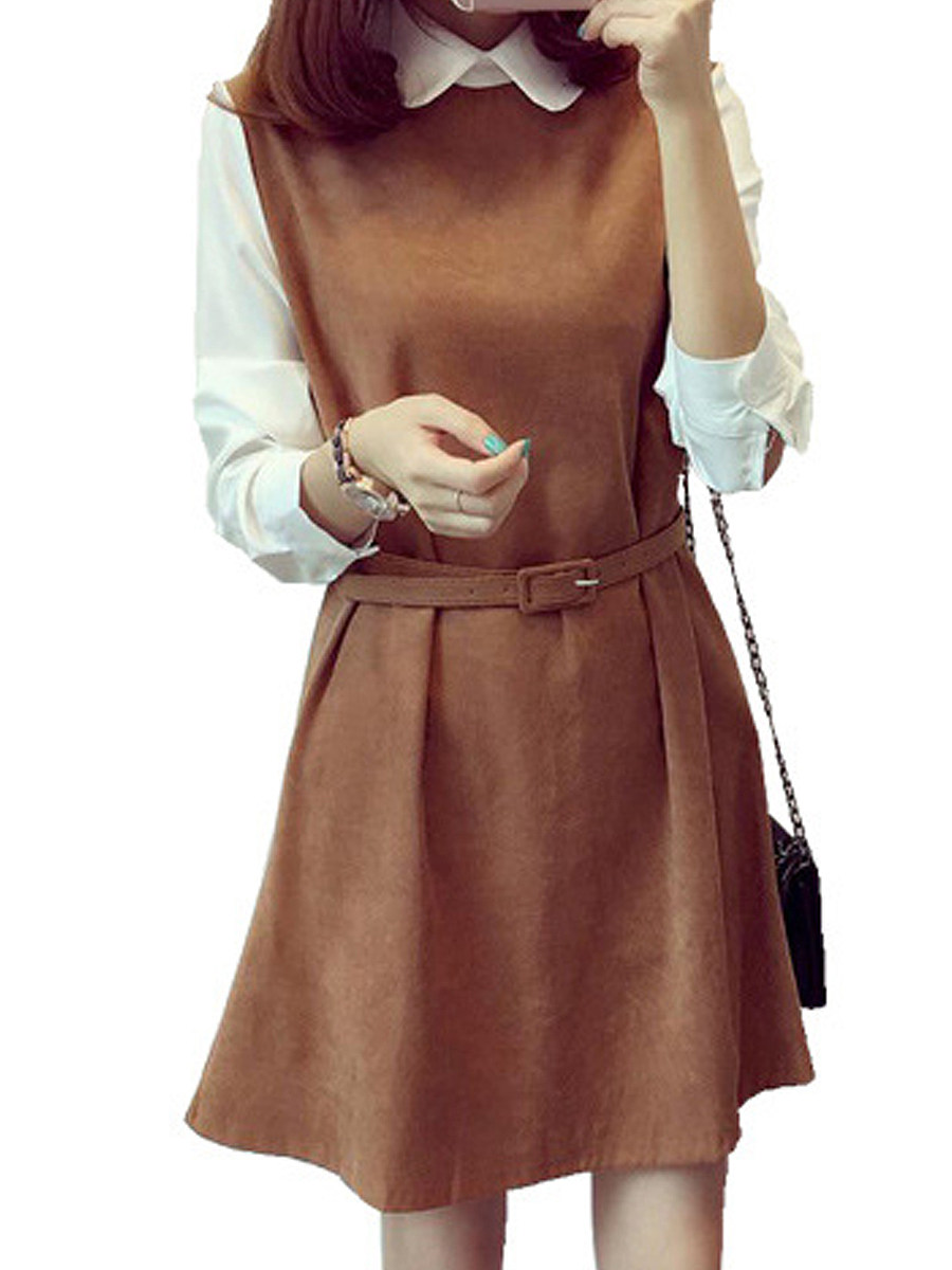 Women's long-sleeved doll collar fake two-piece dress - from $18.95