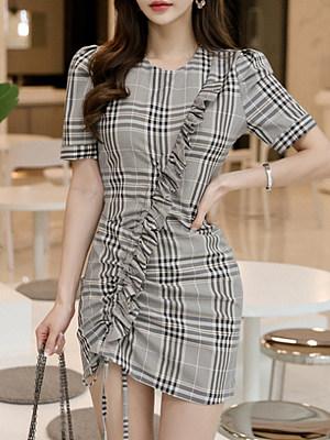 V-Nec Plaid Mini Bodycon Dress