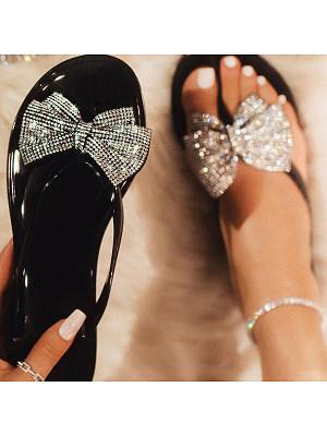 Color Diamond Bow Herringbone Flat Sandals