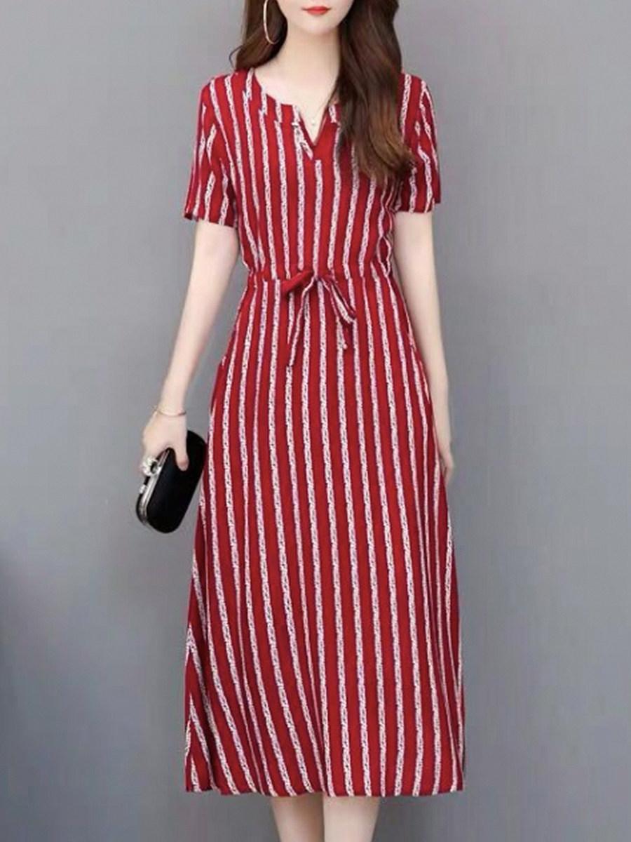 BerryLook V Neck Loose  Stripes Shift Dress