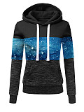 Image of Hat Collar Starry Sky Print Long Sleeve Hoodie