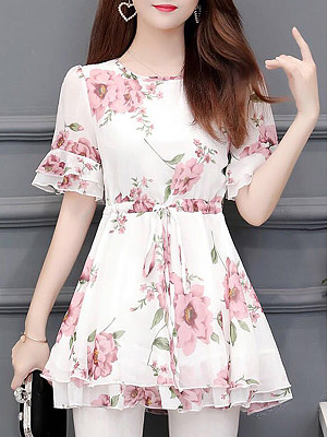 Round Neck Floral Short Sleeve Blouse, 11273111