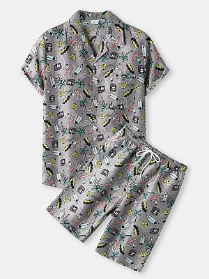 Mens Gray Spaceship Print Summer Beach Suits