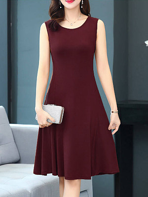 Round Neck Plain Shift Dress, 11380904