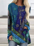 Image of Ethnic style color matching print loose casual long-sleeved T-shirt