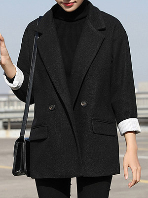 Women's Fashion Solid Color Woolen Coat gender:female, season:autumn,winter,spring, collar:lapel collar, texture:polyester, sleeve_length:long sleeve, sleeve_type:regular sleeve, style:japan and south korea, design:double breasted, dress_occasion:daily, bust:128,clothing length:76,