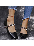 Image of Fashion chunky heels with inlaid buckle high heels