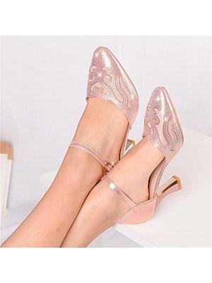 Berrylook coupon: Women's Casual Solid Color Rhinestone Hollow Heels