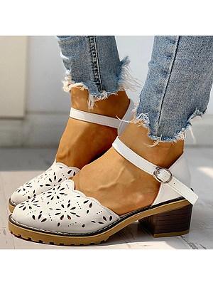 Wild one-piece buckle heel women shoes