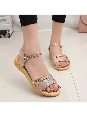Solid Color Buckle Open Toe Sequin Sandals