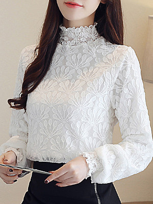 Band Collar Patchwork Lace Long Sleeve Blouse, 11211593