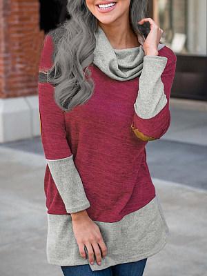 Women's fashion turtleneck stitching mid-length sweatshirt